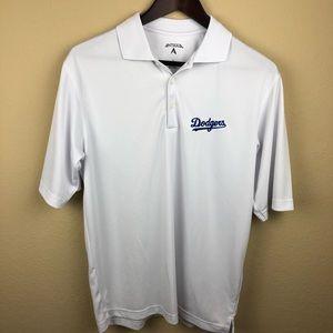 Antigua Mens Polo, Dodgers White Small